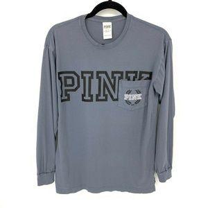 Victorias Secret PINK Dog Pocket Blue Jersey Shirt